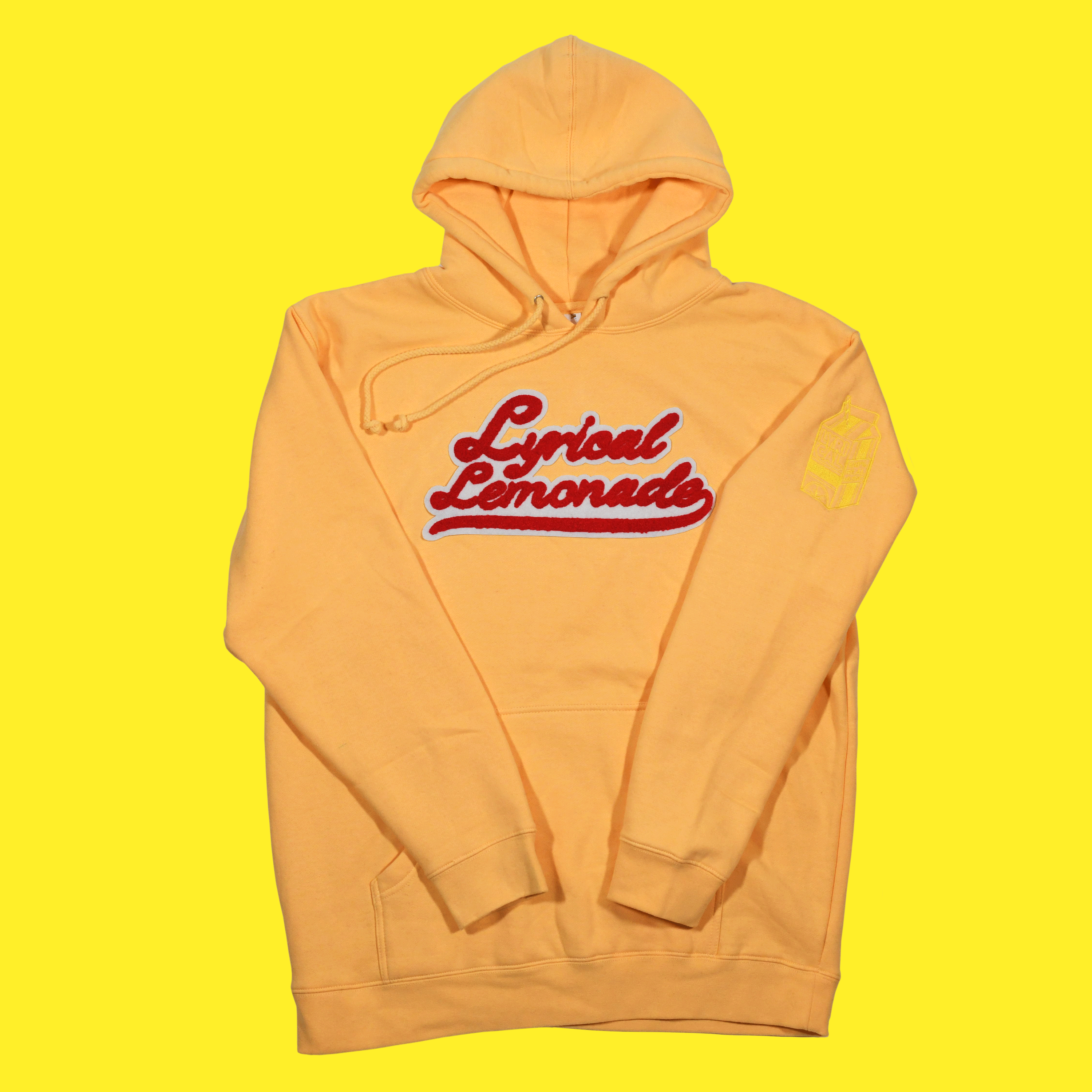 The Chenille Hoodie (Peach/Varsity Red)