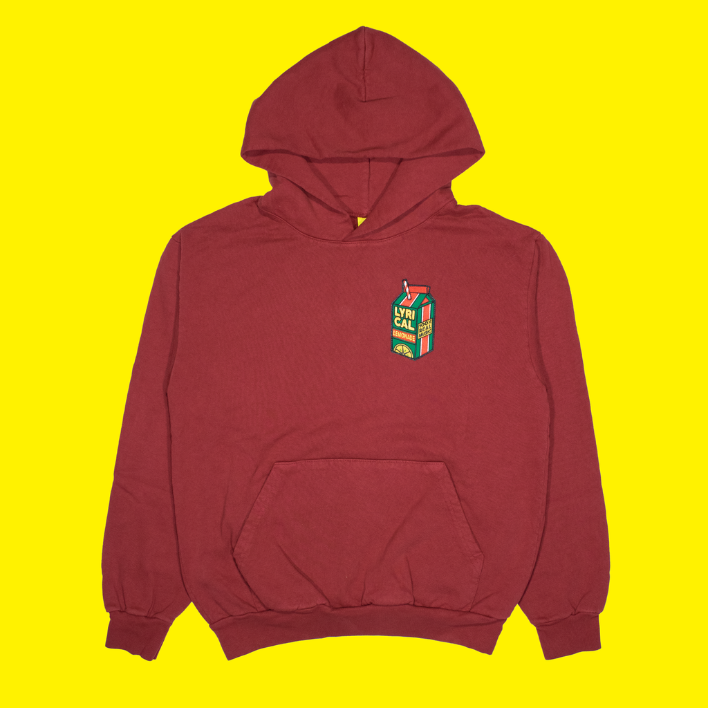Carton Patch Hoodie in Maroon
