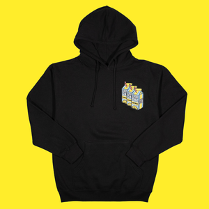 The Triple Patch Carton Hoodie in Black