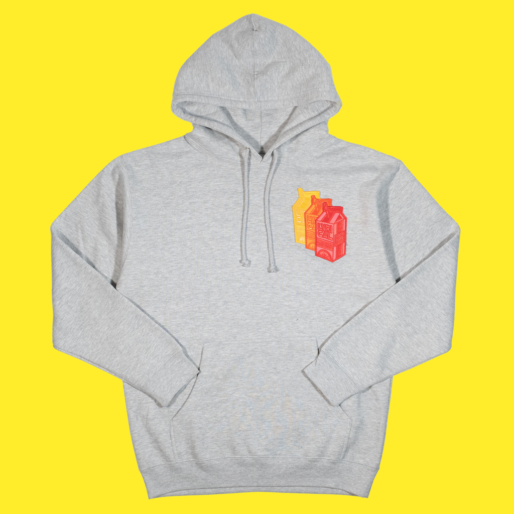 The Triple Patch Carton Hoodie in Ash Grey