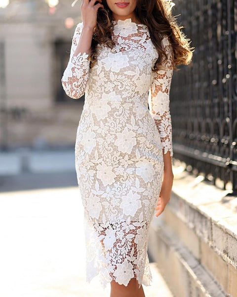 White Embroidered Lace Long Sleeve Dress
