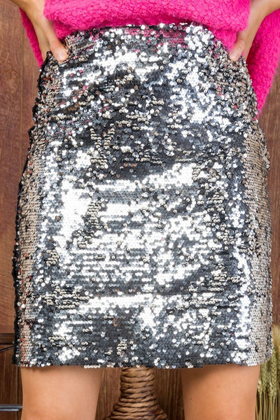 Silver Sequined Sparkle Mini Skirt