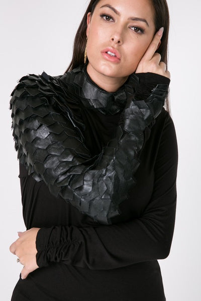 "Couture Black ""The Raven"" Leather Long Sleeve Top"