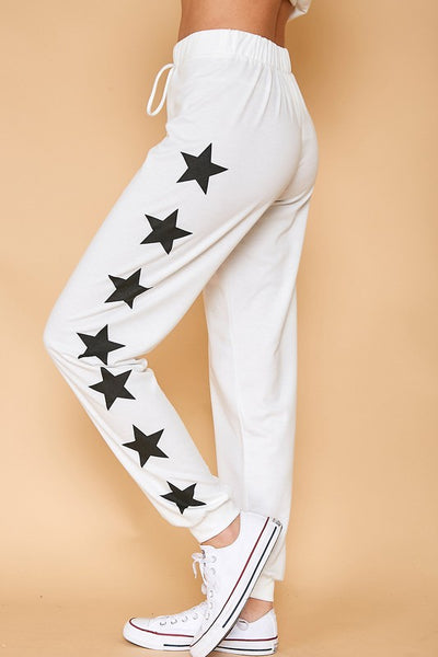 Comfy White Graphic Printed Stars French Terry Sweatpants