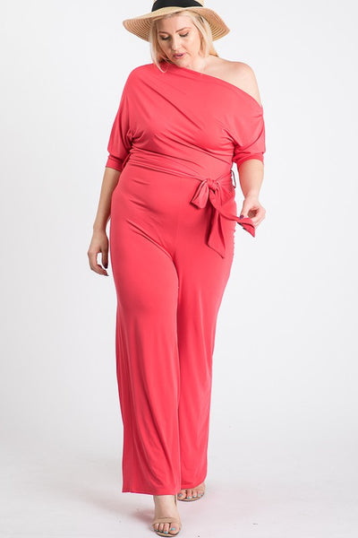 Plus Size Coral Pink Off Shoulder Knit Tie Jumpsuit