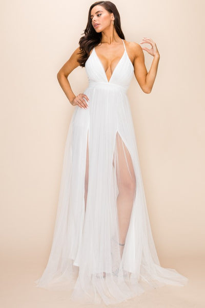 Glamorous White Deep V Dual Split Sheer Maxi Dress