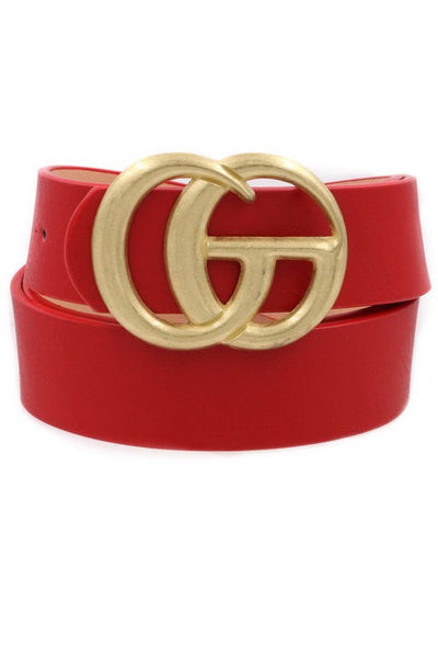 Fashionable Red Gold Buckle Faux Leather Belt