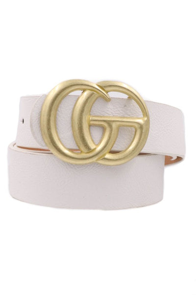 Fashionable White Gold Buckle Faux Leather Belt