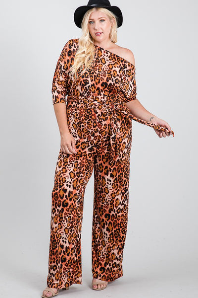 Plus Size Cheetah Print Off Shoulder Knit Tie Jumpsuit