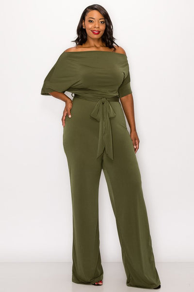 Plus Size Olive Green Off Shoulder Knit Tie Jumpsuit