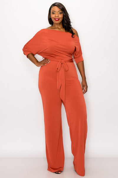 Plus Size Coral Orange Off Shoulder Knit Tie Jumpsuit