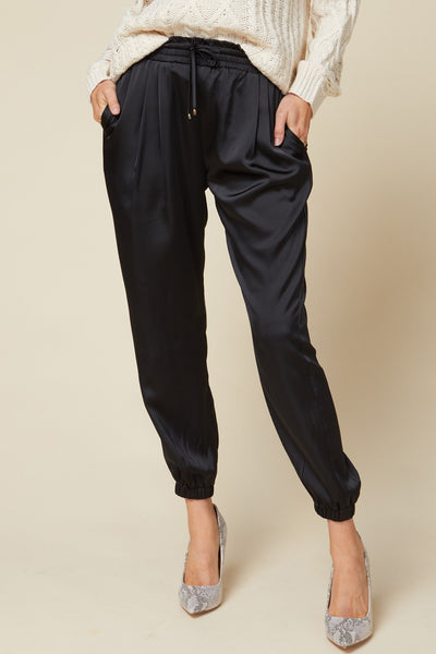 Satin Black Chic Jogger Pants