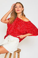 Sparkle Sequin White Off Shoulder Dolman Sleeve Top