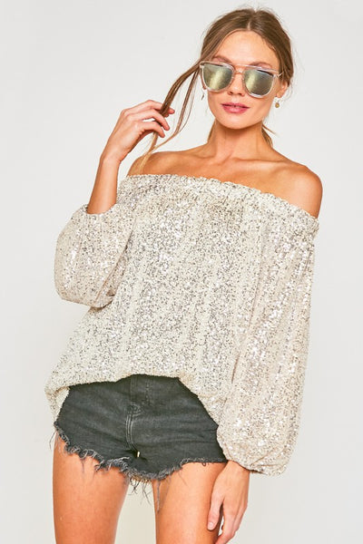 Sequined Silver Balloon Sleeve Off Shoulder Long Sleeve Top