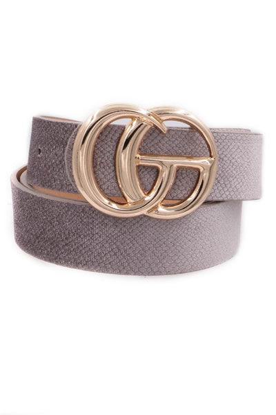 Fashionable Stone Grey Gold Buckle Faux Leather Belt