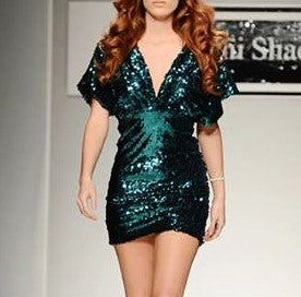 Hunter Green Sequin Deep V Sleeve Dress-Size XS/S