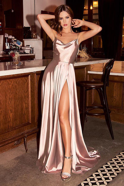 French Satin Champagne Gold Backless High Split Maxi Dress