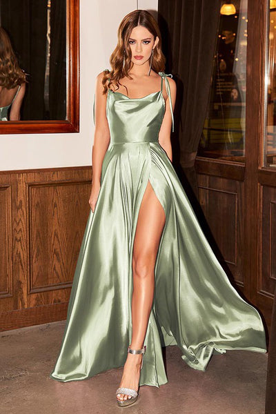 French Satin Sage Green Backless High Split Maxi Dress
