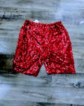 Designer Red Sequin Glitter Shorts-Size Small/Medium
