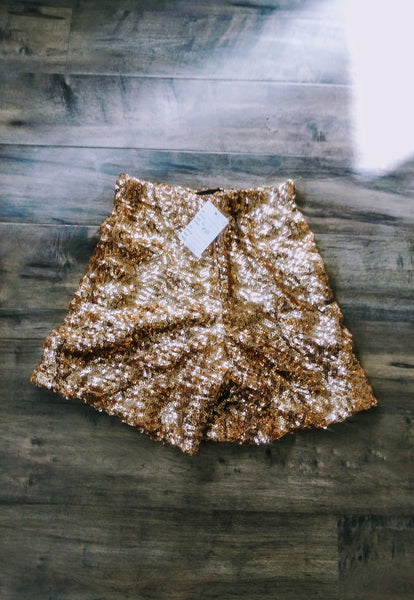 Designer Copper Gold Sequin Glitter Shorts