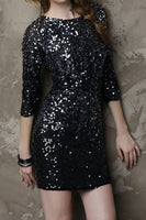 "Designer Black 3/4"" Sleeve Sequin Dress-Size Small"