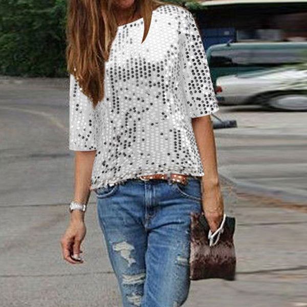 Sparkling Silver Sequin Short Sleeve Top