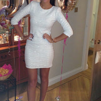 London Chic White Sequin Mini Dress