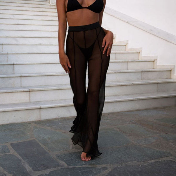 Black Mesh Wide Leg Sheer Pants