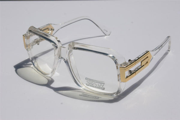 Retro Clear Square Gold Unisex Clear Glasses