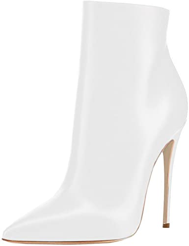 White Leather Zipper Stiletto Heel Booties