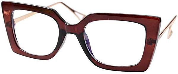 Pointy Brown Square Clear Square Reader Style Glasses