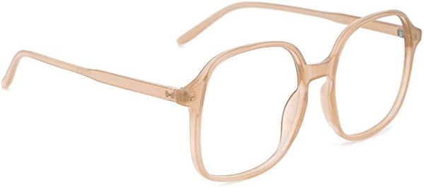 Soft Pink Plastic Frame Oversized Square Round Clear Lens Eyeglasses