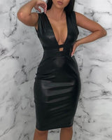 Black Faux Leather Sleeveless Cut Out Mini Dress