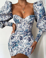 Blue Floral Puff Sleeve Long Sleeve Dress