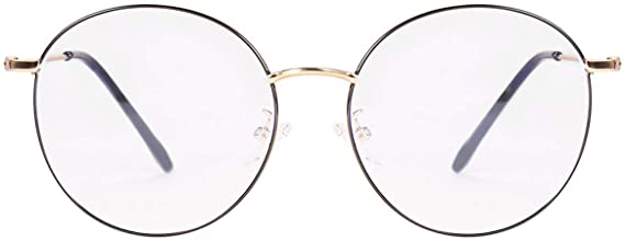 Classic Round Black Clear Metal Reader Style Glasses