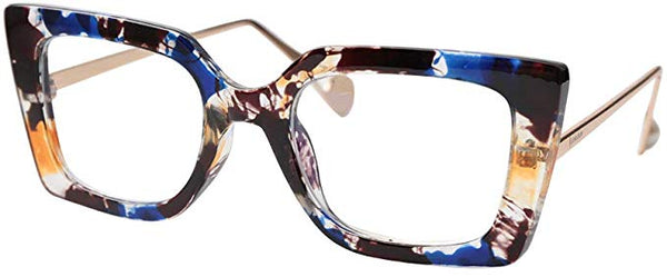 Pointy Blue Marble Square Clear Square Reader Style Glasses
