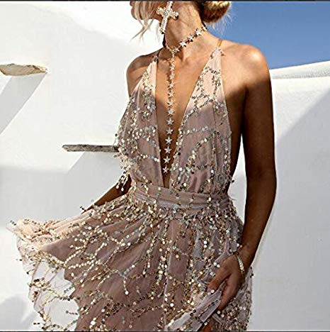 Champagne Gold Sequin Sparkle Beaded Halter Dress