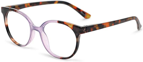 Vintage Style Frosted Tortoise Gradient Round Clear Reader Style Eyewear