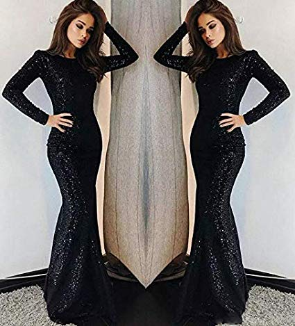 Shanghai Black Sequin Long Sleeve Mermaid Dress