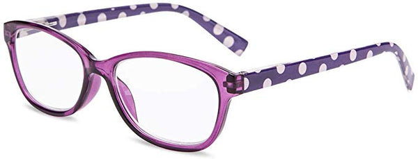 Retro Purple Polka Dot Clear Reader Style Glasses