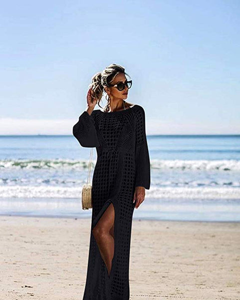 Black Knit Resort Beach Style Maxi Dress