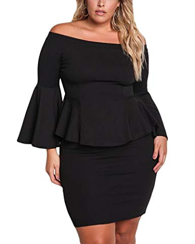 Plus Size Black Off Shoulder Ruffled Sleeve Dress