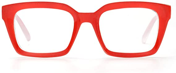 Red Clear Two Tone Blue Light Blocking Clear Square Frames