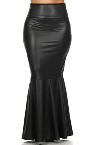 Plus Size Black Faux Leather Mermaid Maxi Skirt