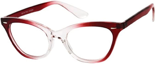 "80""s Inspired Red Fading Cat Eye Clear Reader Style Glasses"