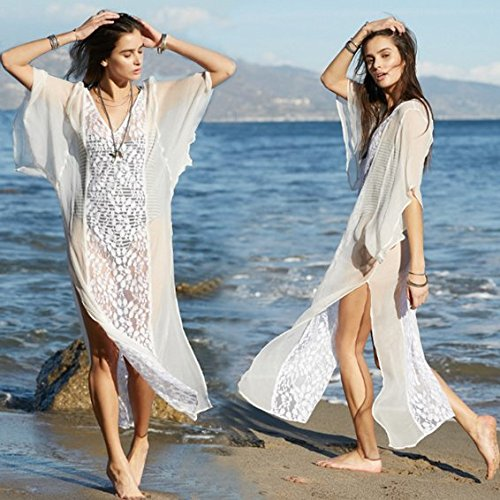 White Embroidered Dual Split Summer Maxi Cover Up