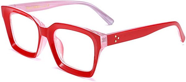 Chic Red Textured Vintage Style Square Clear Lens Eyeglasses