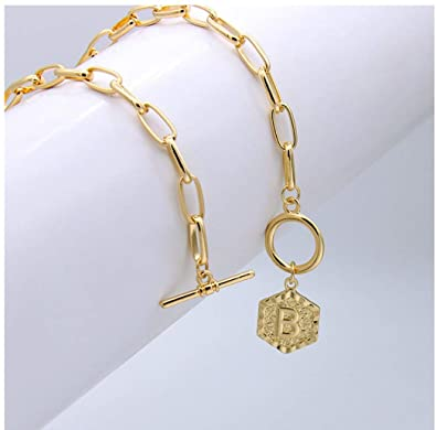18K Gold Hexagon Letter Chain Necklace