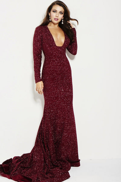 Plunging Red Long Sleeve Sparkle Mermaid Dress