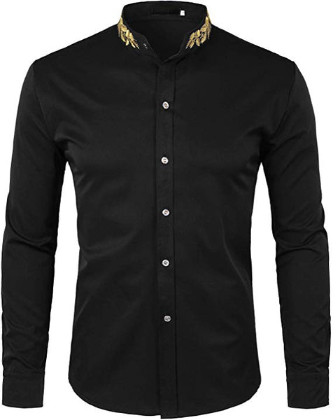 Men's Black Embroidered Collar Long Sleeve Button Down Shirt